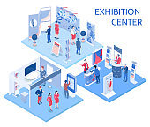 isometric expo stand show exhibition