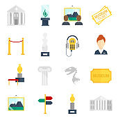 museum icons flat
