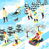 family winter holiday isometric 2x2