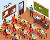 isometric students classroom illustration