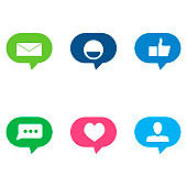 Social media speech bubble colored for counting