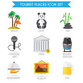 building tourism icon flat