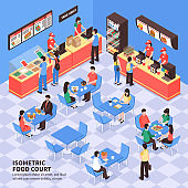 isometric fast food illustration