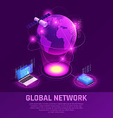 global network internet data transfer technology glow isometric composition