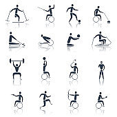 disabled sports icons black