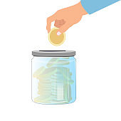 Collect money in glass jar. Banking cash deposit
