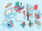 isometric online library horizontal illustration