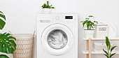 Close-up of rustic laundry room interior with washing machine