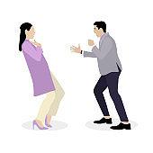 Quarrel and bulling husband yells at wife