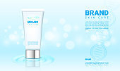 Blue water and bokeh background for cosmetics product with 3d packaging vector illustration