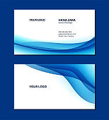 Business card abstract blue wave pattern template