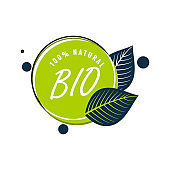Bio natural product label, green badge with leaf