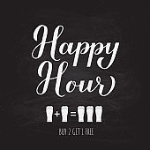 Happy Hour calligraphy hand lettering on chalkboard background. Special offer promotion banner.  Easy to edit vector template for advertising poster, sign, flyer, etc.