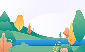 Flat minimal landscape. Autumn nature scene with yellow, green trees and river. Fall panorama with lake. Trendy vector background