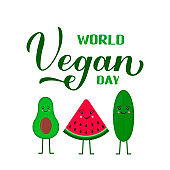 World Vegan Day calligraphy hand lettering with cute cartoon vegetables - avocado, watermelon and cucumber. Vector template for typography poster, logo design, banner, flyer, sticker, etc.