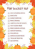 Fall bucket list. Funny autumn things to do checklist. Seasonal activity planner page.  Frame of colorful leaves. Autumn wish list. Easy to edit vector template