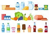 Food products. Bread and water bottles, juice and cheese. Eggs, fruit and sausages ice cream. Product and drinks flat vector icons
