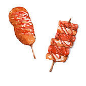 Corn dog and grilled rice cake .