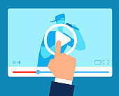 Online teacher. Streaming tutorial education. Vlogger instructions webinar. Video training business vector concept