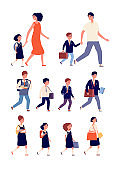 Students characters. Mixed elementary and high school flat children. Isolated teenagers with bags, college community. Kids study vector set