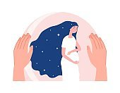 Mother protection. Motherhood, pregnant woman in safety bubble. Hand care about young female, baby waiting vector concept