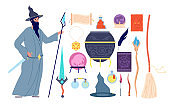 Magic tools. Magical alchemy book, wizard character, crystal witch broom potion bottle. Male mystery person, magician vector illustration