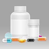 Medicine vector illustration with realistic plastic bottles for pills and drugs, vitamins, pills