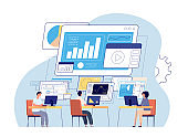 Visual statistics. Data visualization, creative office people and digital dashboard. Business technology, working programmers vector concept