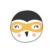 Cute cartoon penguin animal. Superhero character, vector illustration.