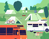 Tourist camp. Sunny forest tree camping, outdoor restfulness. Tourism tools, summer rest tents, cars and bonfire. Nature vector background