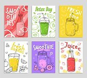 Smoothie flyers. Colorful detox juices, fresh fruit smoothies cards. Vegan lifestyle, sketch berry and banana. Vector drinks illustration