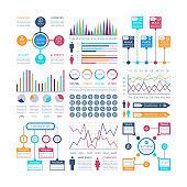Infographics template. Financial charts, trends graph. Population infocharts. Statistical bar diagram. Presentation vector infographic
