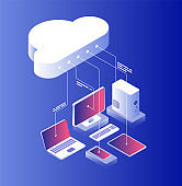 Cloud computing. Information technology with laptop computer and smartphone configuration. Cloud services isometric vector concept