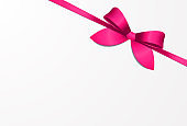 Satin pink bow with pink ribbon Vector illustration