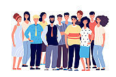Employee group portrait. Young smiling people, business team. Happy laughing teenagers friends together. Vector cartoon characters