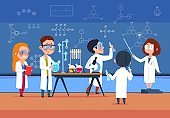 School kids in chemistry lab. Children in science laboratory make test. Cartoon pupils girls and boys in class. Vector illustration