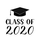 Class of 2020 lettering with graduation cap isolated on white. Congratulations to graduates typography poster.  Easy to edit vector template for greeting card, banner, sticker, label, t-shirt, etc.