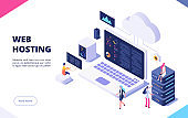 Web hosting concept. Cloud computing online database technology security computer web data center server isometric landing vector page