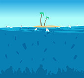 Plastic pollution of ocean. Bottles, plastic bags and debris on the seabed. Water environment protection eco vector concept