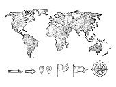 Sketched style world map and navigation elements vector illustration