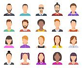 Flat avatars. Male and female heads, business persons portraits. Users cartoon faces vector set