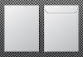Envelope a4. Paper white blank letter envelopes for vertical document. Vector mockup isolated on transparent background
