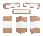 Craft carton boxes. Standing brown pack. Cookie box, paper packaging design. Realistic isolated cardboard package with label vector mockup