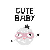 Kids poster with cute superhero character and hand drawn lettering. Baby nursery wall art. Vector illustration.
