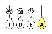Light bulbs idea concept. Simplify complexity, graphic of problem solution. Creative thinking process. Tangled and simple way vector concept