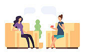 Two women are talking, psychoteraphy vector concept