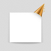 Greeting card vector template with blank paper sheet and party hat