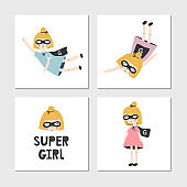 Set of children's posters with superhero ginger girl and lettering. Clip art collection, vector illustration.