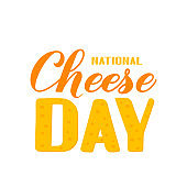 National Cheese Day calligraphy hand lettering isolated on white. Funny typography poster. Vector template for banner, flyer, sticker, shirt, greeting card, postcard, emblem design, wrapping, etc.