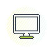 Computer Monitor Line Icon. Editable Vector EPS Symbol Illustration.
